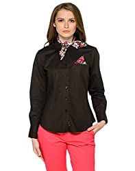 Chocolate and Floral Print Stylsih Shirt for Women, with a complimenting scarf.
