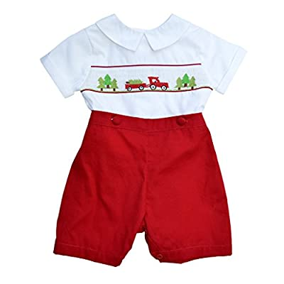 2 Piece Cute Baby Boy Christmas Hand Smocked Bobbie Suit by Carriage Boutique