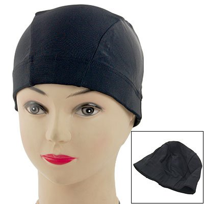 Adult Black Stretchy Polyester Swim Hat Swimming Cap