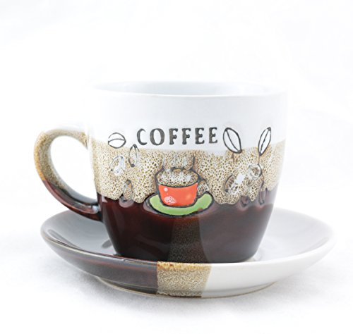 Sanjee Ceramic Cloud&beach Ceramic Coffee Cup and Saucer 7-ounce,set of 2,colorful coffee Beans,white and brown,1309E