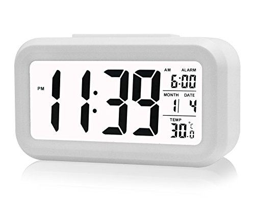 "ZHPUAT 5.3"" Morning Clock,Low Light Sensor Technology,Light On Backligt When Detect Low Light,Soft Light That Won't Disturb The Sleep,Progressively Louder Wakey Alarm Wake You Up Softly.Color White"