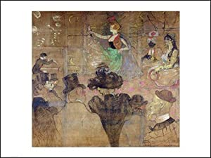 Dancing at the Moulin Rouge: La Goulue, 1895 Art Poster PRINT Henri de Toulouse-Lautrec 24x18