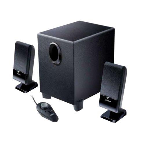 Edifier M1350, 2.1-Soundsystem mit 2x 2W Satelliten und 1x 4,5W Subwoofer, inklusive Fernbedienung, schwarz