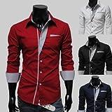 (グラッドジーン) GLADGENE スリムフィットドレスシャツ ネイビー レッド ブラック ホワイト M L XL (L, レッド)