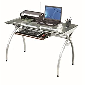 Amazon.com - Techni Mobili Glass Top Computer Desk, Clear