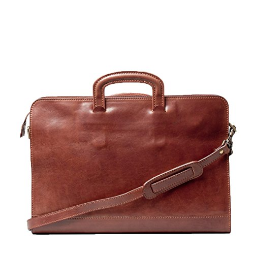 Maxwell Scott Luxury Tan Leather Business Folder (The Barolo) - One Size