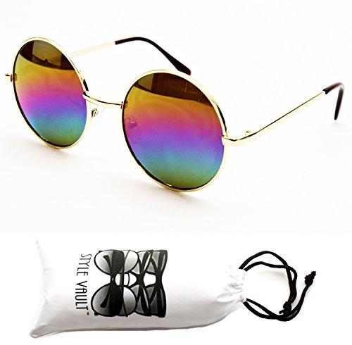 "V105-Vp Style Vault 2"" Lens Round Metal Sunglasses (063Rw Gold-Rainbow, Uv400)"