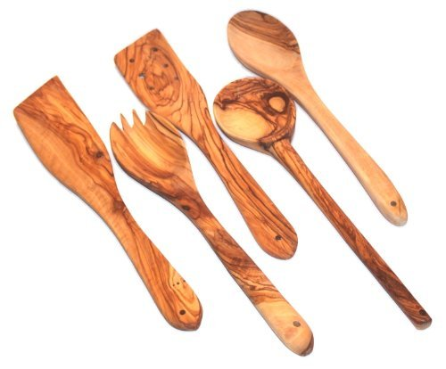 Handcrafted olive wood Set of 5 Spatulas / Spoons ( length 12
