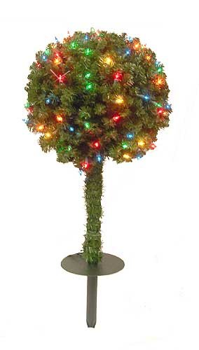 3′ Indoor Outdoor Pre-Lit Christmas Topiary Ball