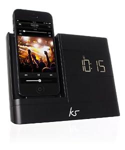 KitSound XDOCK2 Radio Uhr Dockingstation/Ladegerät mit Lightning Anschluss für iPhone 5/5S/5C, iPod Nano 7th Generation and iPod Touch 5th Generation, mit EU Netzstecker - Schwarz