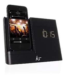 KitSound XDOCK 2 Radio Réveil avec Station d'Accueil et Connecteur Lightning pour iPhone 5/5S/5C/6 (12cm)/iPod Nano 7/iPod Touch 5 - Livré avec Prise EU - Noir