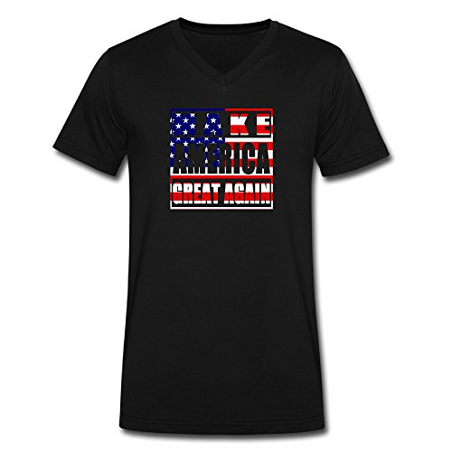 [Sunflower Men V-Neck T Shirt T-shirt Entertainment Make American Great Again With Flag Mixed Black] (Make Jill Valentine Costume)