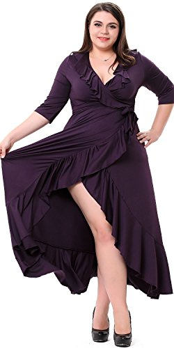 Sapphyra® Women's Formal V-neck Ruffled Front Drape Big Hem Long Cocktail Dress