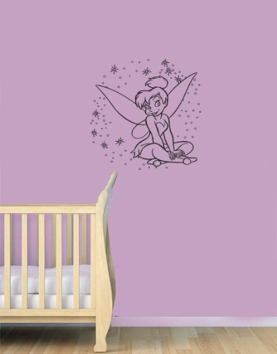 Housewares Vinyl Decal Tinkerbell With Stars Home Wall Art Decor Removable Stylish Sticker Mural Unique Design For Baby Girl Nursery Room front-151150
