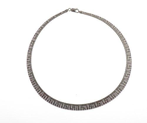 Silver 17 Inches Cleopatra Greek Key Necklet