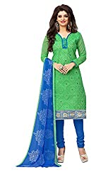 Dress Material Chanderi Green Embroidered + Lace Unstitched