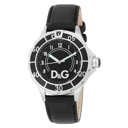D & G DW0509 Anchor  Black Dial Black Leather Strap Watch