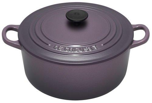 Le Creuset Cast Iron Round Casserole, Cassis, 22 cm