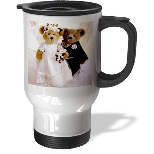 3Drose Wedding Anniversary Personalized Travel Mug, 14-Ounce