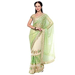 Suchi Fashion Green Georgette And Lycra Border Worked Wedding Saree