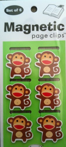 Sock Monkeys Illustrated Magnetic Page Clips Set of 6 by Re-marks