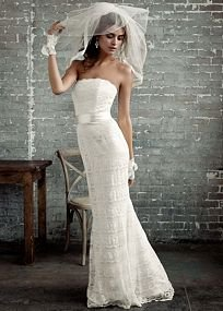 David's Bridal Wedding Dress: Beaded Lace Trumpet with