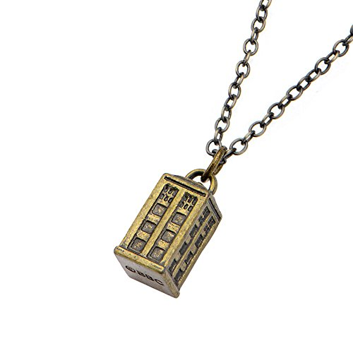 Doctor Who Gold Tardis Charm Pendant Necklace by Animewild