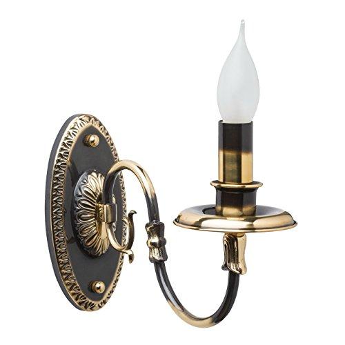 Luminaire applique laiton patiné couleur or+noire chandelier vintage classique antique 1 bras non-incl.E14 1*60W 230V