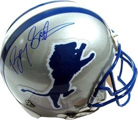 Barry Sanders Autographed Hand Signed Detroit Lions TB Replica Mini Helmet by Hall of Fame Memorabilia