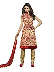 Touch Trends Gold Embroidered Dress Material