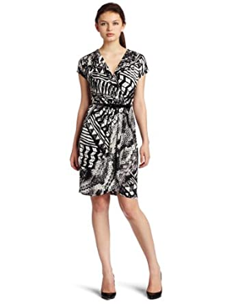 Donna Morgan Women's Short Sleeve Faux Wrap Dress, Black/White, 4