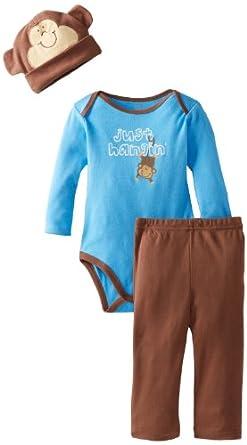 (新品)Gerber 男童新生儿3 Piece Onesies Brand Bodysuit Pants and Cap Set $9.99
