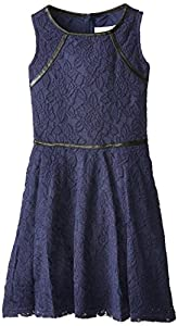 Blush by Us Angels Big Girls' Tank with Full Skirt and Pleather Trim, Navy, 7