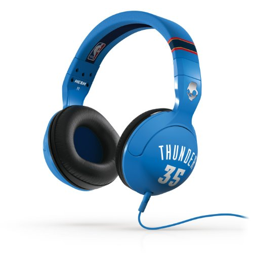 "Skullcandy Hesh 2.0 Nba Thunder - Kevin Durant Headphones, With 50 Mm Drivers, Compatible With Iphone & Android Smartphones, Features ""Attacking Bass"" And Supreme Sound With Specially Engineered Precision Highs, In-Line Mic For Taking Calls, Soft Pillow L"