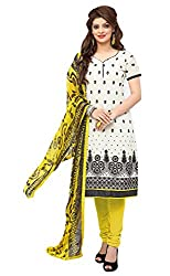 Jiya Presents Embroidered Chanderi Dress Material (White,Yellow)