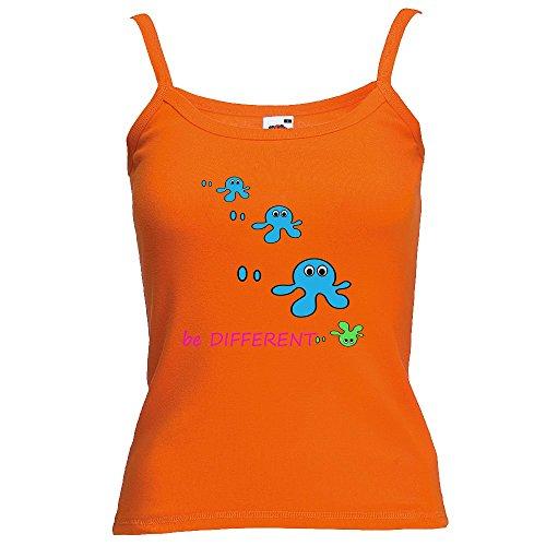 Divertente 028, Be Different, Arancio Fruit of the Loom Women Strap Tee Cotone Top e Canotte Spalline Donna con Design Colorato. Taglia M.