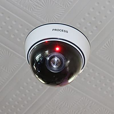 New Wireless Fake Dummy Dome CCTV Surveillance LED Security Camera Indoor Outdoor With Flashing LED Light White Color