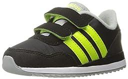 adidas Performance Boys\' V Jog Cmf Inf Sneaker, Black/Electricity/Light Onix, 3 M US Infant