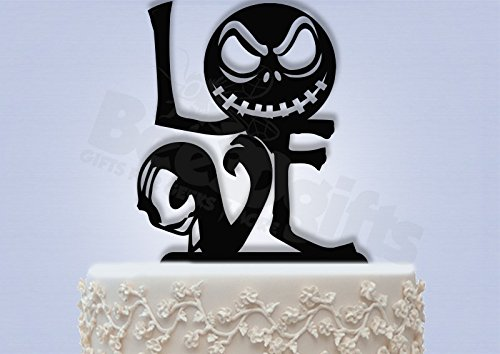 Jack and Sally Love Wedding Cake Topper