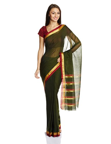 Urban Vastra Cotton Saree with Blouse Piece (CW9633_Olive Green) (multicolor)