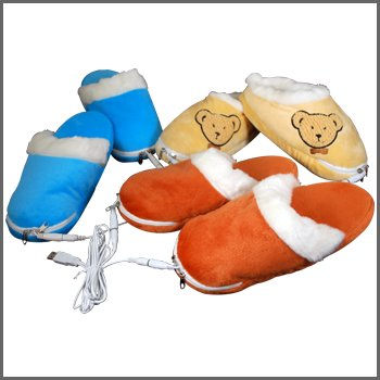 Heated USB Slippers Light Brown Bears