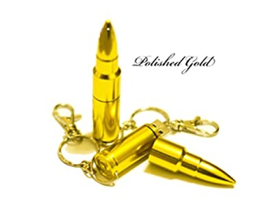 4GB Golden Stainless Steel Metal Bullet High Speed USB 2.0 High Speed Flash Pen Drive Disk Memory Stick Support PC, MAC, Laptop, NoteBook, NetBook, Windows and Mac OS Water Proof and Shock Proof Metallic Body with Key Ring and Belt Loop - Part of the Craz