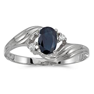 10k White Gold Oval Sapphire And Diamond Ring (Size 6.5)