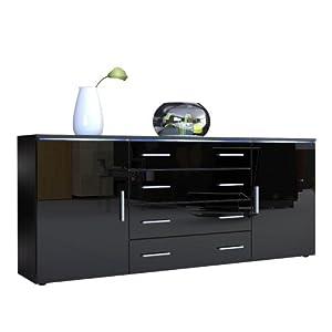 Sideboard Chest of Drawers Faro V2 in Black / Black High Gloss