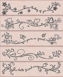 Whimsical Messages and Borders Wood Mounted Rubber Stamp Set (LL208)