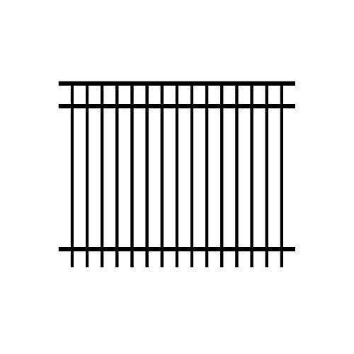 Allure Aluminum Cosmopolitan 4 ft. x 6 ft. Black Aluminum 3-Rail Unassembled Fence Panel (Rail Fence Panel compare prices)
