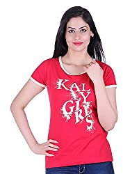 Kally Women's Cotton Printed Regular Fit Top (TP7403, Red, Small)