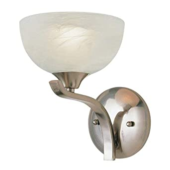 Trans Globe 7931 BN One Light Wall Sconce, Brushed Nickel Finish with Marbleized Glass