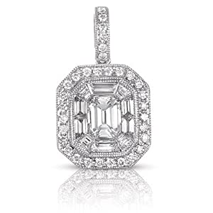 14k White Gold Diamond Pendant - JewelryWeb