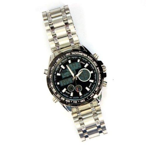 Zps Army Military Mens Lcd Display Water Resistant Sport Quartz Wrist Watch Black